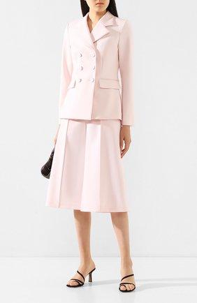 Женский шерстяной жакет ADAM LIPPES розового цвета, арт. R20803DW | Фото 2 (Материал внешний: Шерсть; Длина (для топов): Стандартные; Материал подклада: Шелк; Рукава: Длинные; Статус проверки: Проверена категория; Случай: Формальный; 1-2-бортные: Двубортные; Женское Кросс-КТ: Жакет-одежда)