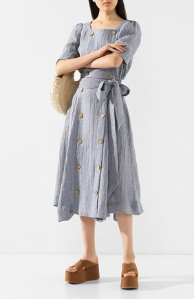 Женская льняная юбка LISA MARIE FERNANDEZ голубого цвета, арт. 2020RES222 BLCG | Фото 2
