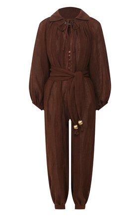 Женский льняной комбинезон LISA MARIE FERNANDEZ коричневого цвета, арт. 2020RES280 CH0G | Фото 1