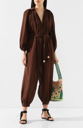 Женский льняной комбинезон LISA MARIE FERNANDEZ коричневого цвета, арт. 2020RES280 CH0G | Фото 2