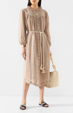 Женское льняное платье LISA MARIE FERNANDEZ бежевого цвета, арт. 2020RES330 BRCG | Фото 2