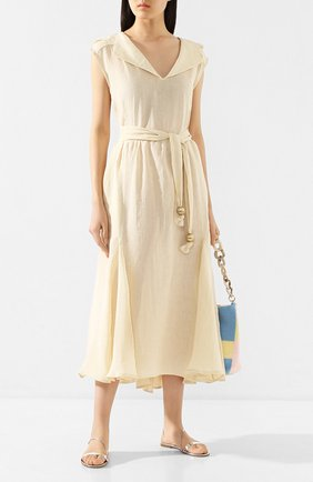 Женское льняное платье LISA MARIE FERNANDEZ бежевого цвета, арт. 2020RES331 NPL | Фото 2