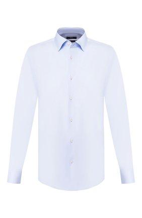 Мужская хлопковая сорочка BOSS голубого цвета, арт. 50421976 | Фото 1