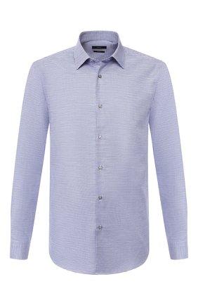 Мужская хлопковая сорочка BOSS синего цвета, арт. 50428535 | Фото 1