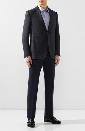 Мужская хлопковая сорочка BOSS синего цвета, арт. 50428535 | Фото 2