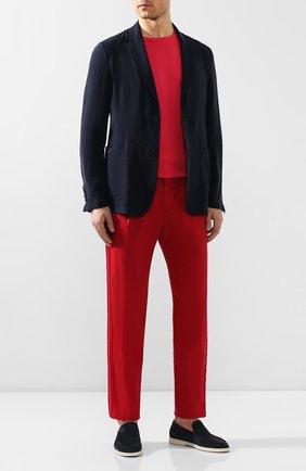 Мужские брюки из смеси льна и хлопка GIORGIO ARMANI красного цвета, арт. 0SGPP09Z/T01FI | Фото 2