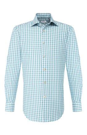 Мужская хлопковая сорочка KITON зеленого цвета, арт. UCIH0730915 | Фото 1