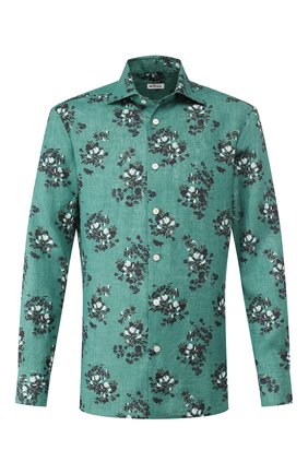 Мужская льняная рубашка KITON зеленого цвета, арт. UMCNERH0721511 | Фото 1