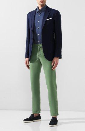 Мужская хлопковая сорочка KITON синего цвета, арт. UMCNERH0721607 | Фото 2