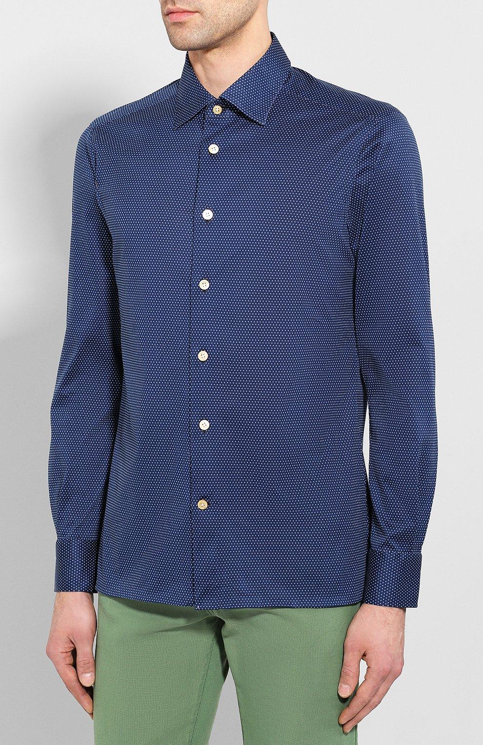 Мужская хлопковая сорочка KITON синего цвета, арт. UMCNERH0721607 | Фото 3