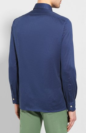 Мужская хлопковая сорочка KITON синего цвета, арт. UMCNERH0721607 | Фото 4