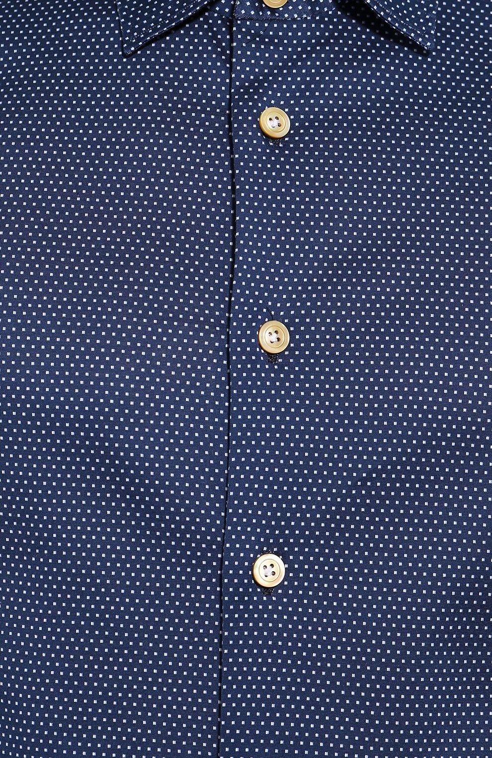 Мужская хлопковая сорочка KITON синего цвета, арт. UMCNERH0721607 | Фото 5