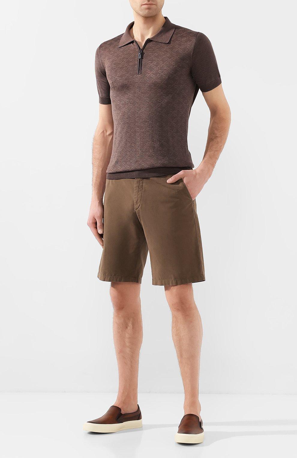 Мужские хлопковые шорты LORO PIANA коричневого цвета, арт. FAE8348 | Фото 2