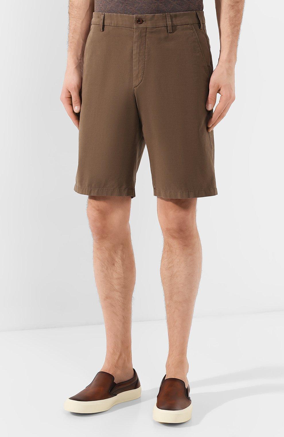 Мужские хлопковые шорты LORO PIANA коричневого цвета, арт. FAE8348 | Фото 3