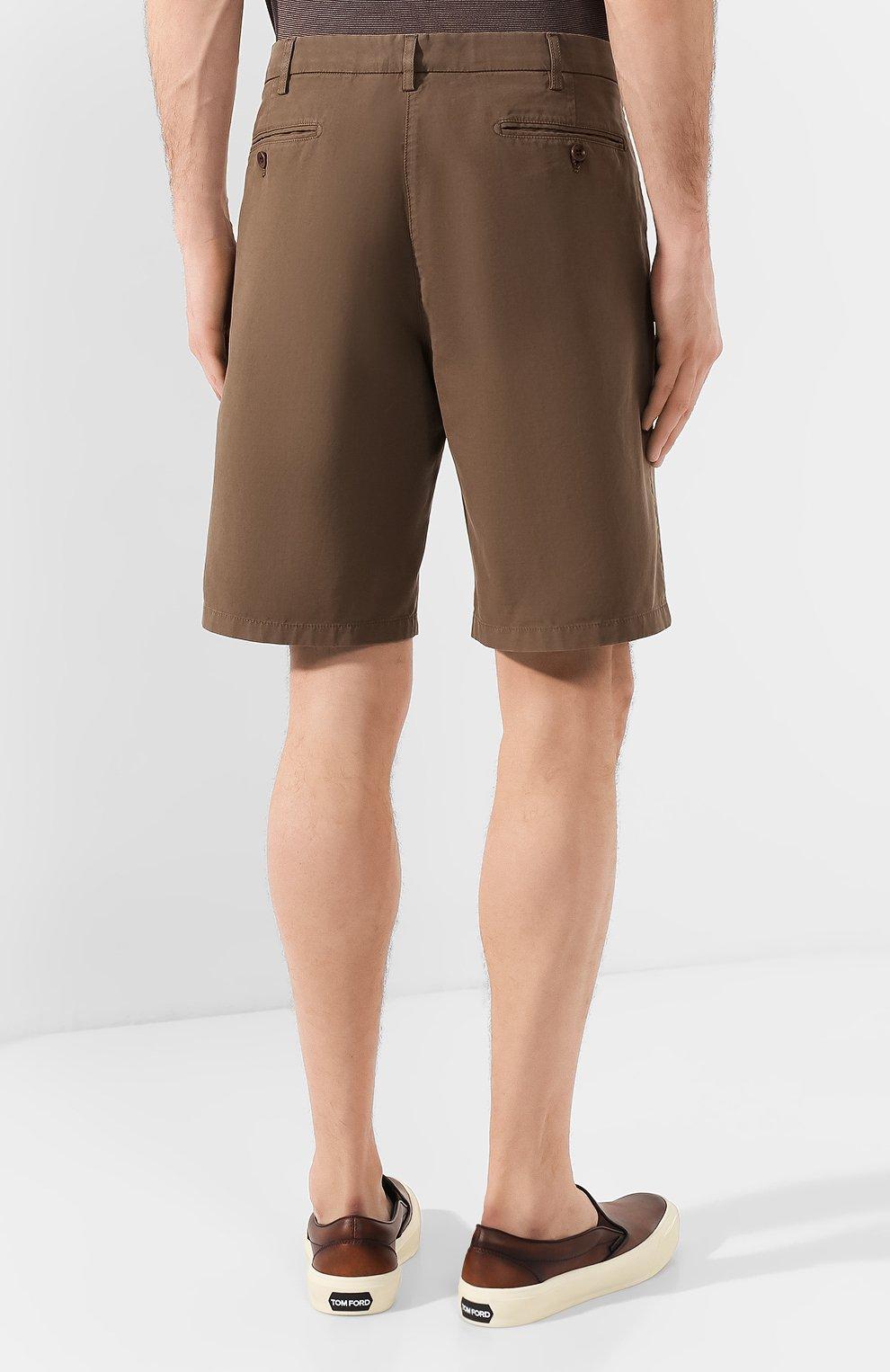Мужские хлопковые шорты LORO PIANA коричневого цвета, арт. FAE8348 | Фото 4
