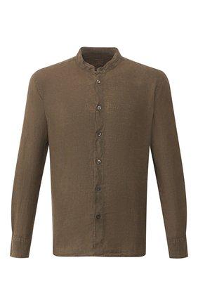 Мужская льняная рубашка 120% LINO хаки цвета, арт. R0M1159/B317/000 | Фото 1
