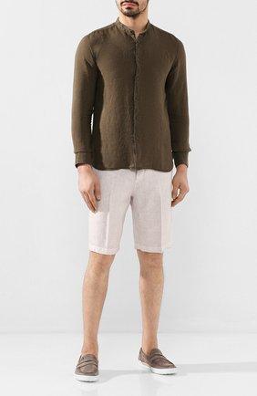 Мужская льняная рубашка 120% LINO хаки цвета, арт. R0M1159/B317/000 | Фото 2