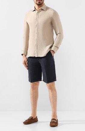 Мужская льняная рубашка 120% LINO бежевого цвета, арт. R0M1311/B317/000 | Фото 2