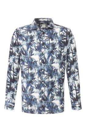 Мужская льняная рубашка 120% LINO синего цвета, арт. R0M1311/F778/000 | Фото 1