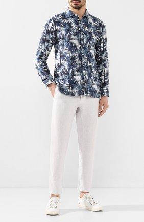 Мужская льняная рубашка 120% LINO синего цвета, арт. R0M1311/F778/000 | Фото 2