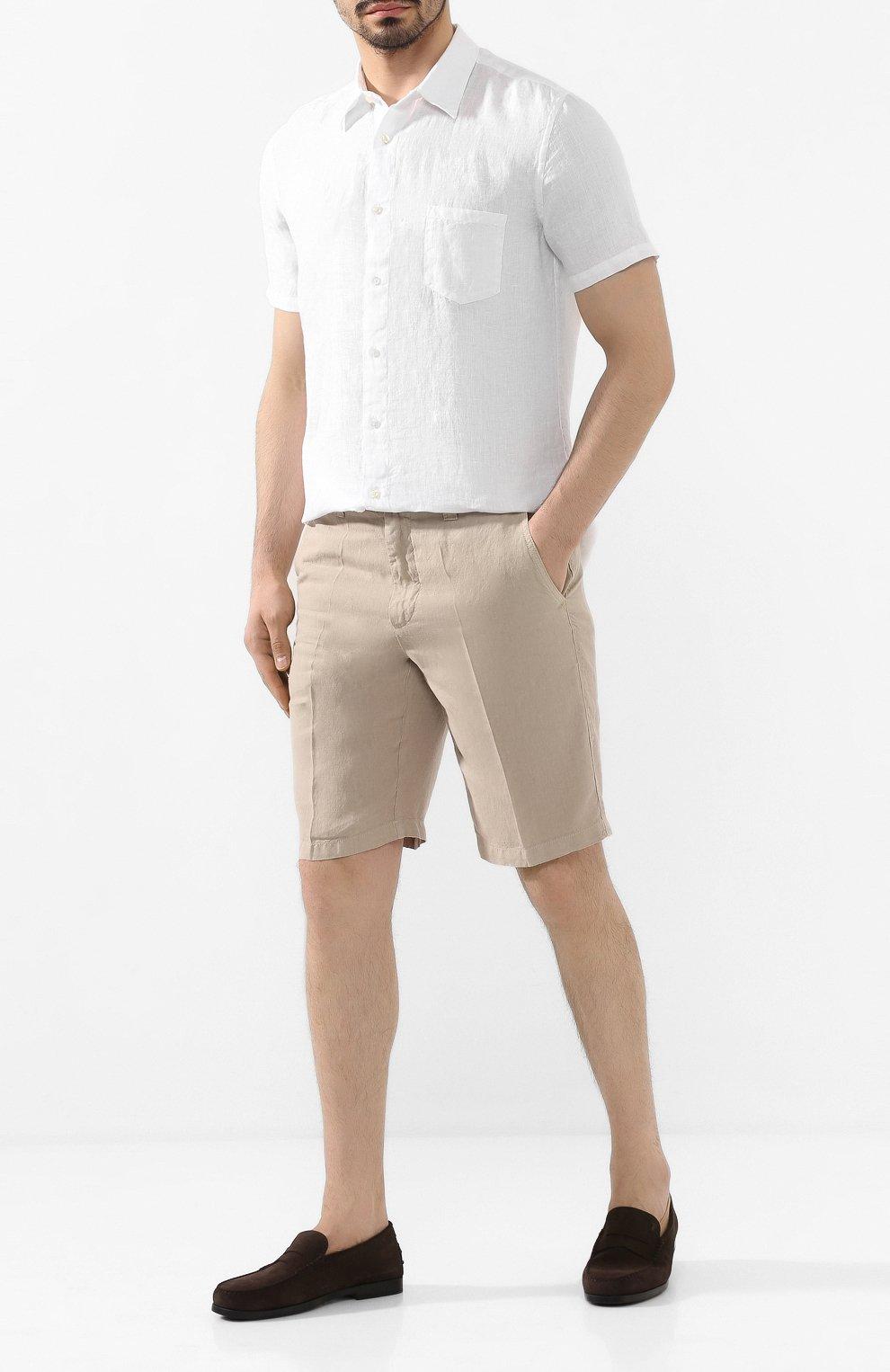 Мужская льняная рубашка 120% LINO белого цвета, арт. R0M1368/0115/000 | Фото 2