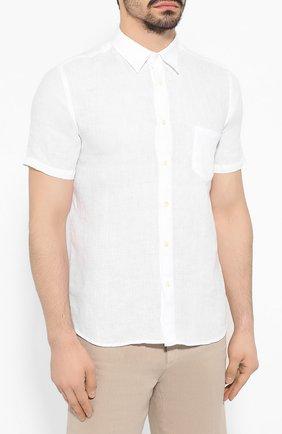 Мужская льняная рубашка 120% LINO белого цвета, арт. R0M1368/0115/000 | Фото 3