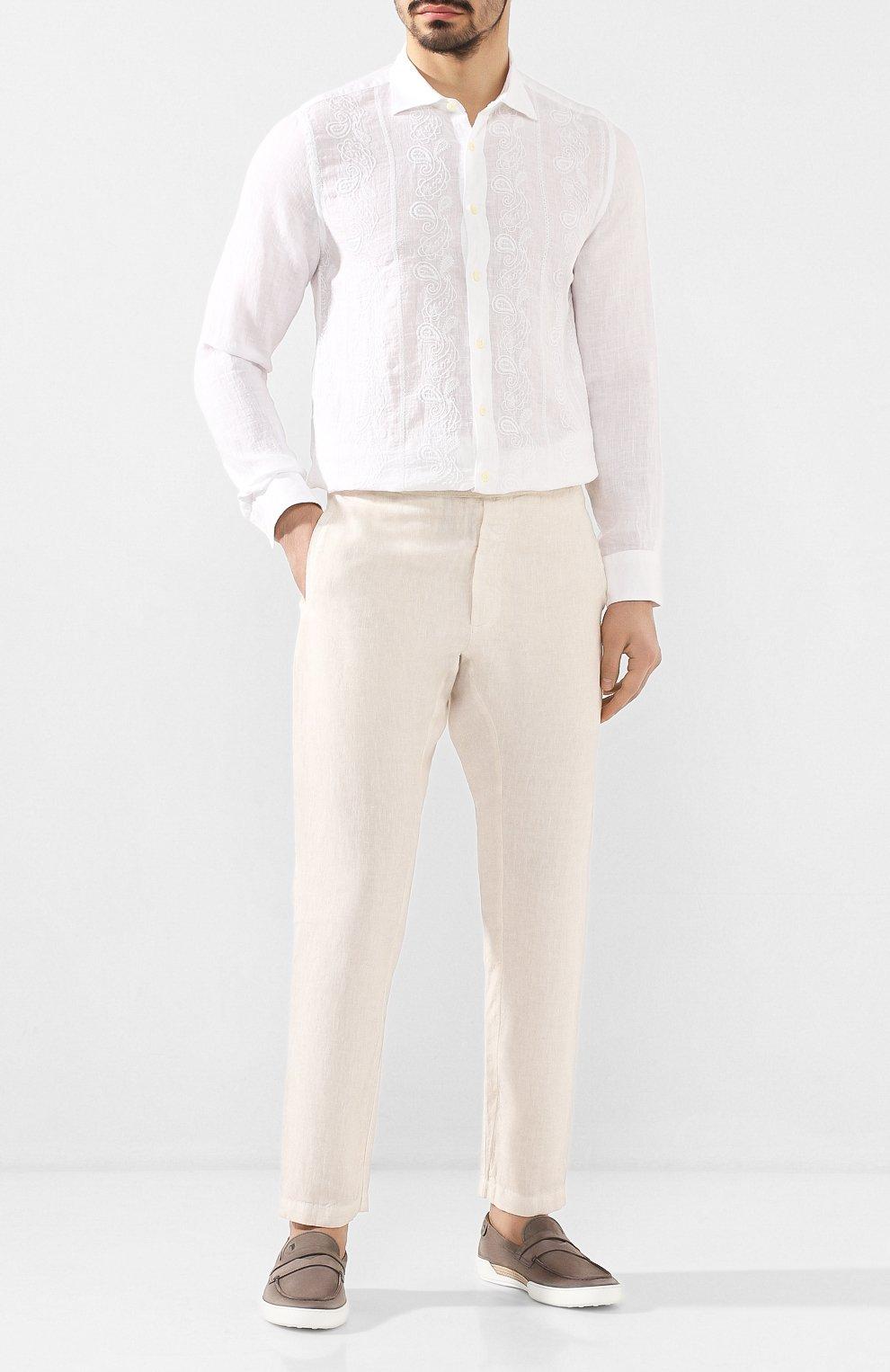 Мужские льняные брюки 120% LINO кремвого цвета, арт. R0M2131/0253/S00   Фото 2