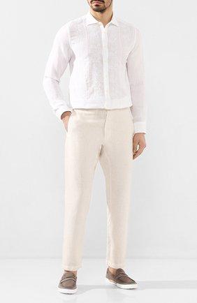 Мужской льняные брюки 120% LINO кремвого цвета, арт. R0M2131/0253/S00 | Фото 2