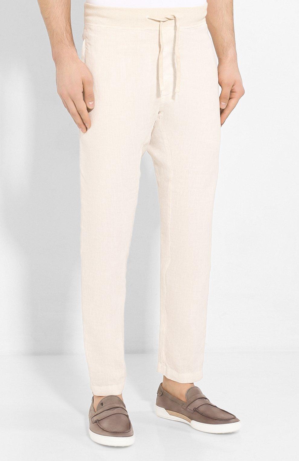 Мужские льняные брюки 120% LINO кремвого цвета, арт. R0M2131/0253/S00   Фото 3