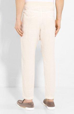 Мужские льняные брюки 120% LINO кремвого цвета, арт. R0M2131/0253/S00   Фото 4