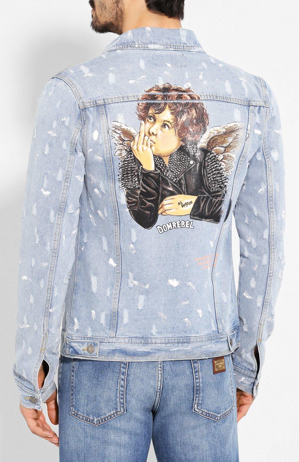 Мужская джинсовая куртка DOM REBEL голубого цвета, арт. REBEL/JEAN JACKET | Фото 4