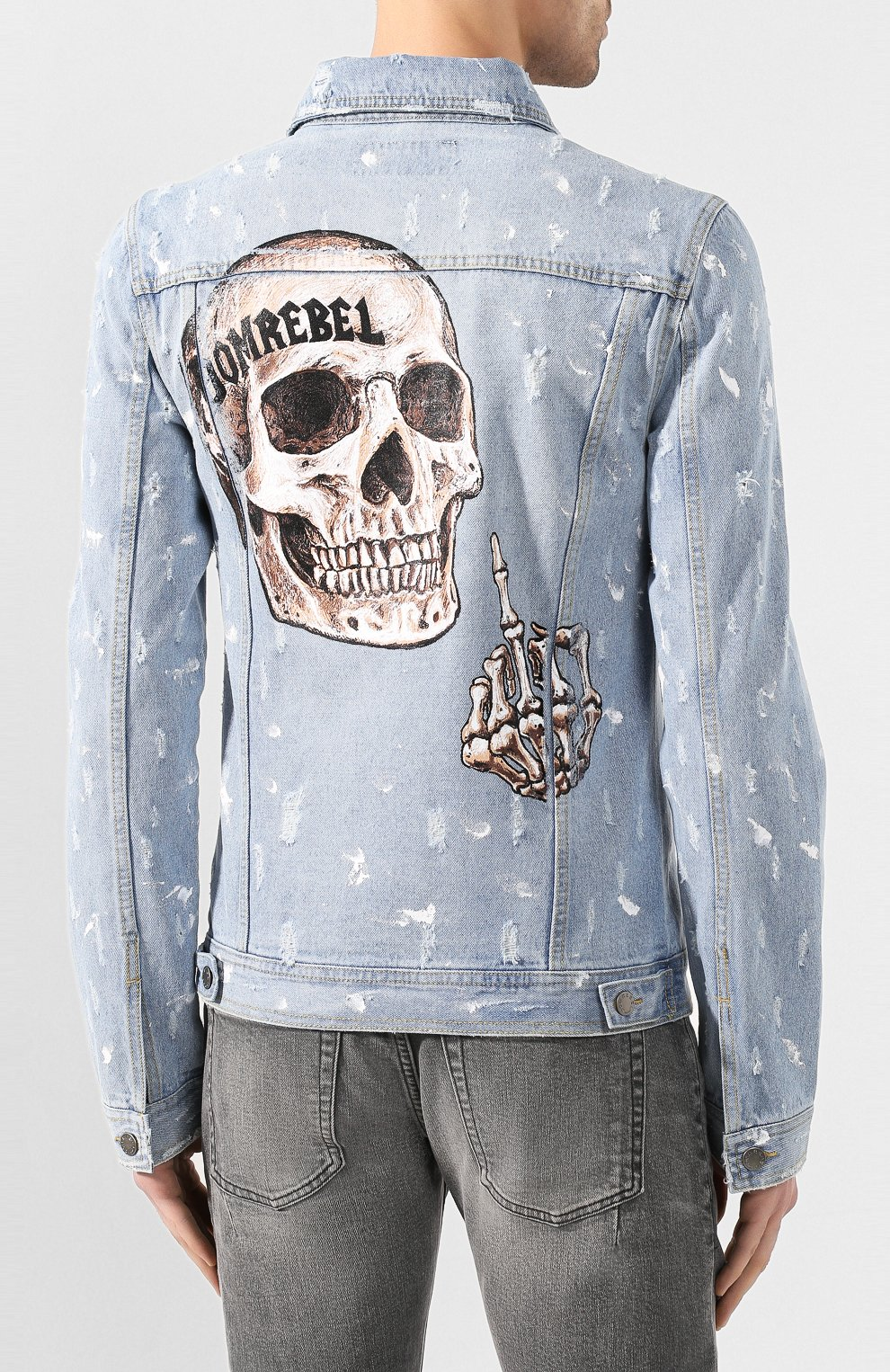 Мужская джинсовая куртка DOM REBEL голубого цвета, арт. FLIP/JEAN JACKET | Фото 4