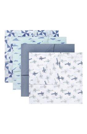 Детского комплект из четырех пеленок ADEN+ANAIS синего цвета, арт. S3107 | Фото 1