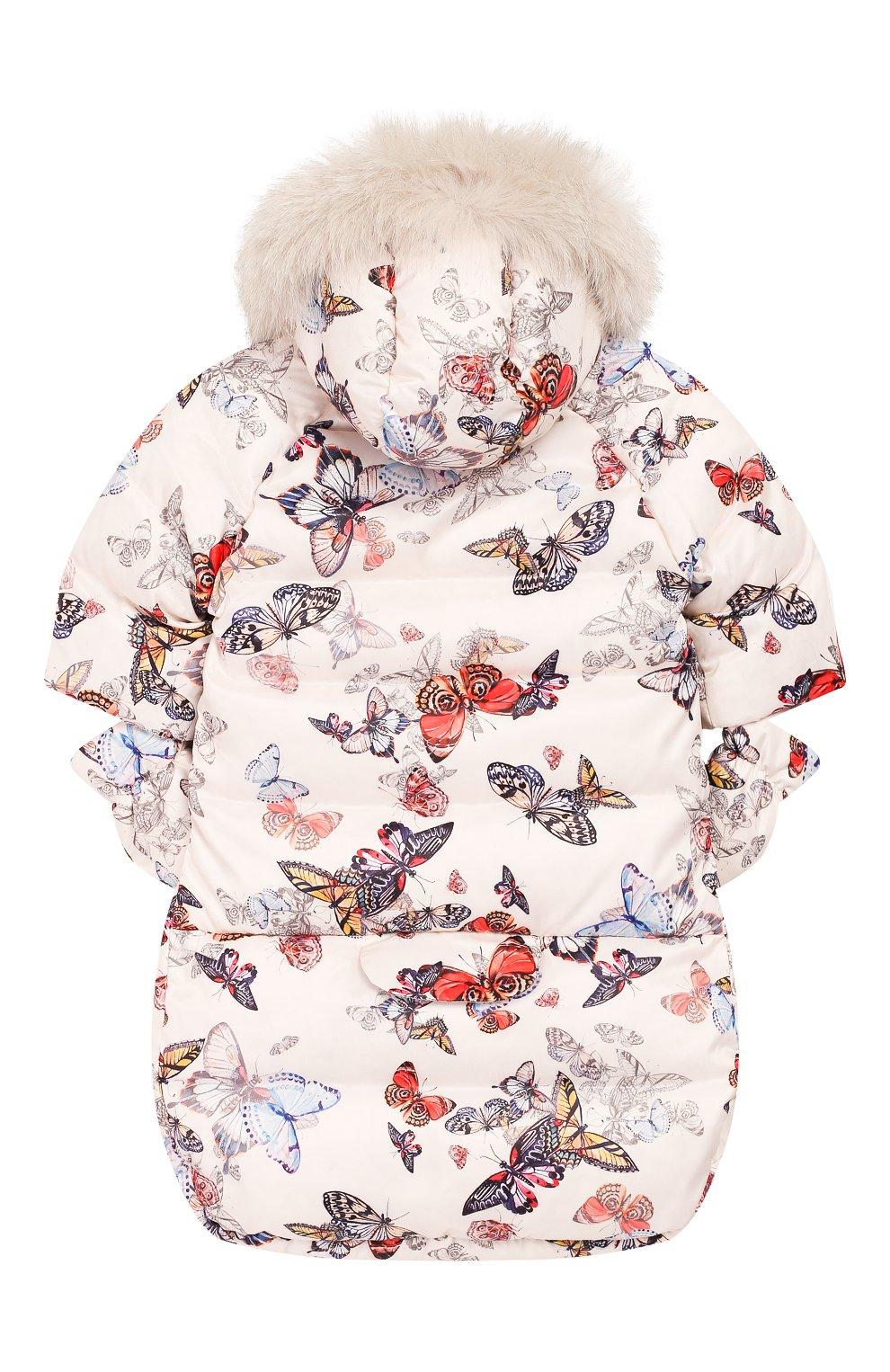 Детский пуховый конверт-комбинезон бабочки CHEPE разноцветного цвета, арт. 391672 | Фото 2