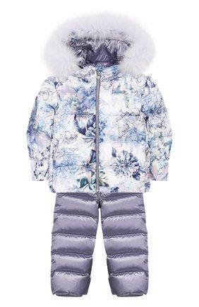 Комплект из пуховой куртки и комбинезона Сиреневый сад | Фото №1