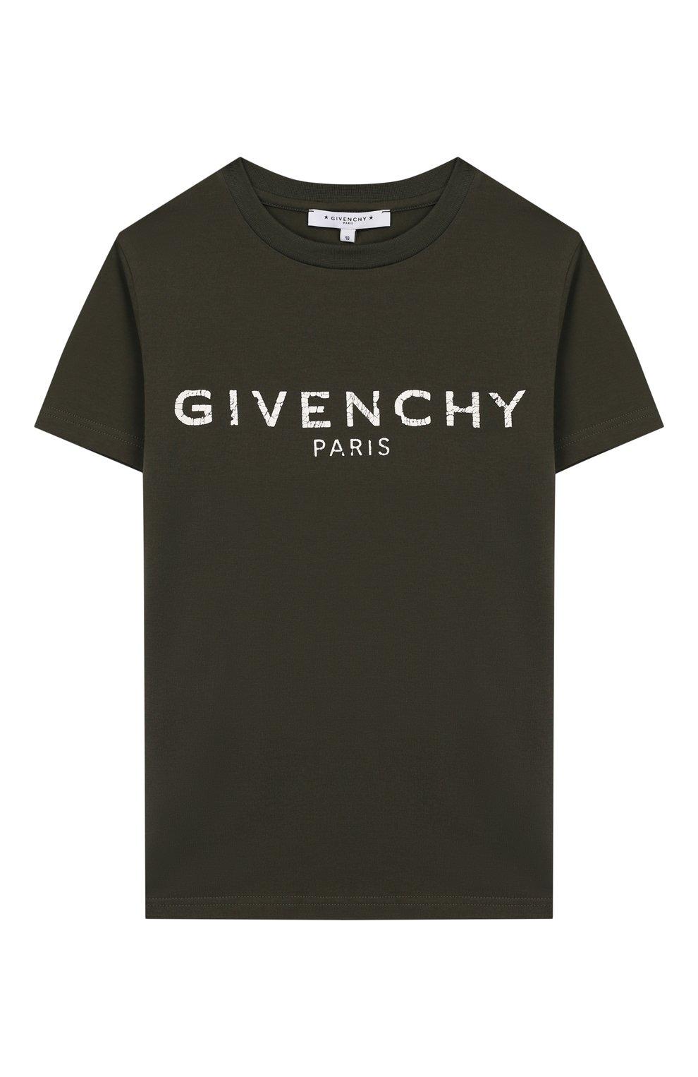 Детская хлопковая футболка GIVENCHY хаки цвета, арт. H25H47 | Фото 1