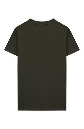 Детская хлопковая футболка GIVENCHY хаки цвета, арт. H25H47 | Фото 2