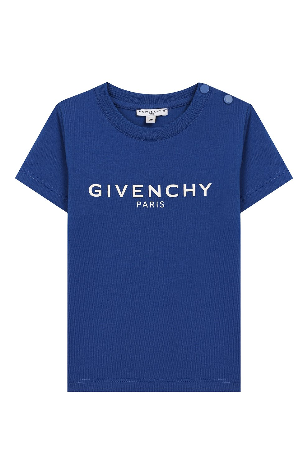 Детский хлопковая футболка GIVENCHY синего цвета, арт. H05116 | Фото 1