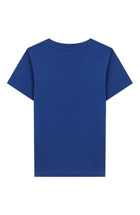 Детский хлопковая футболка GIVENCHY синего цвета, арт. H05116 | Фото 2
