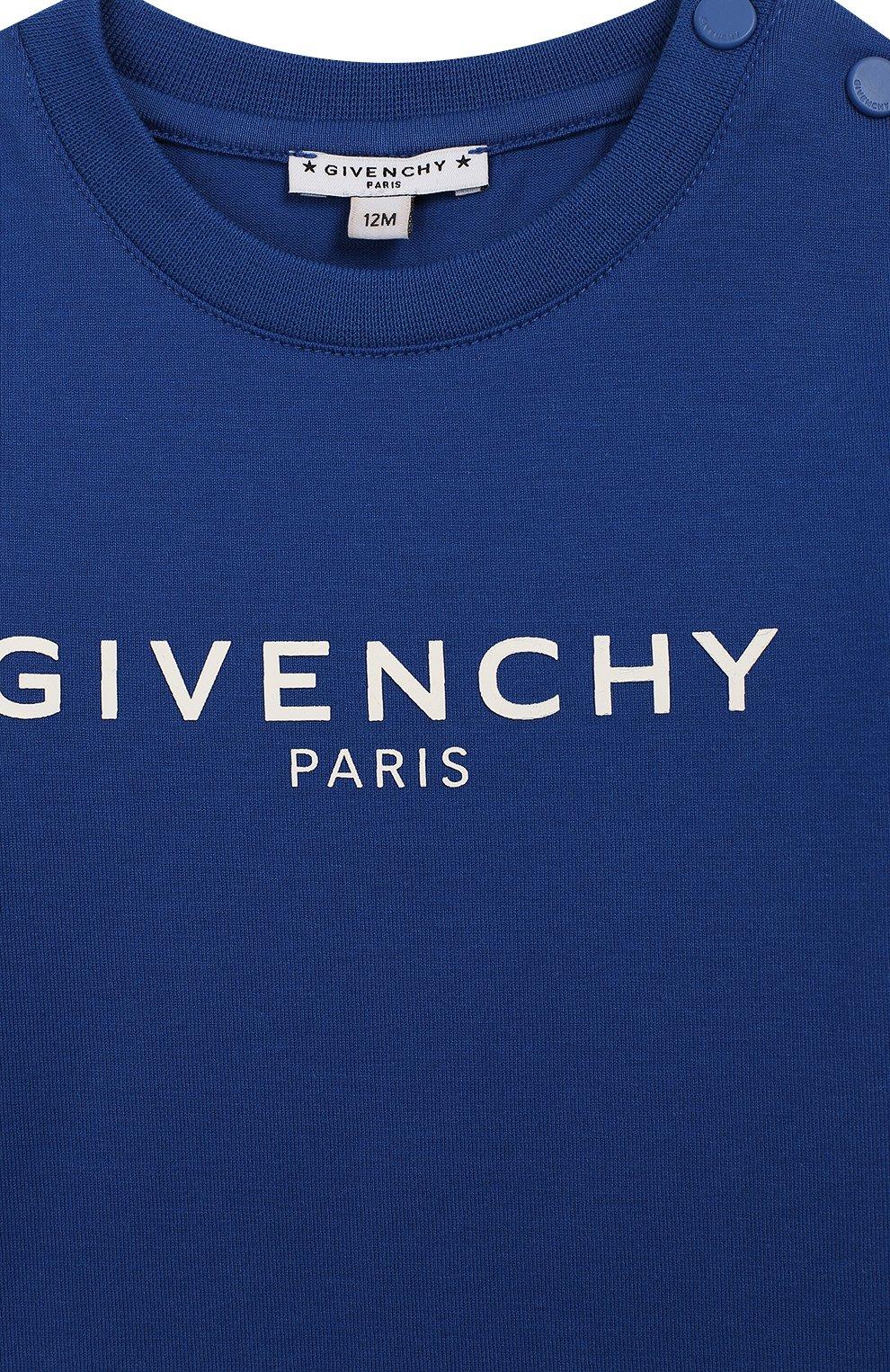 Детский хлопковая футболка GIVENCHY синего цвета, арт. H05116 | Фото 3