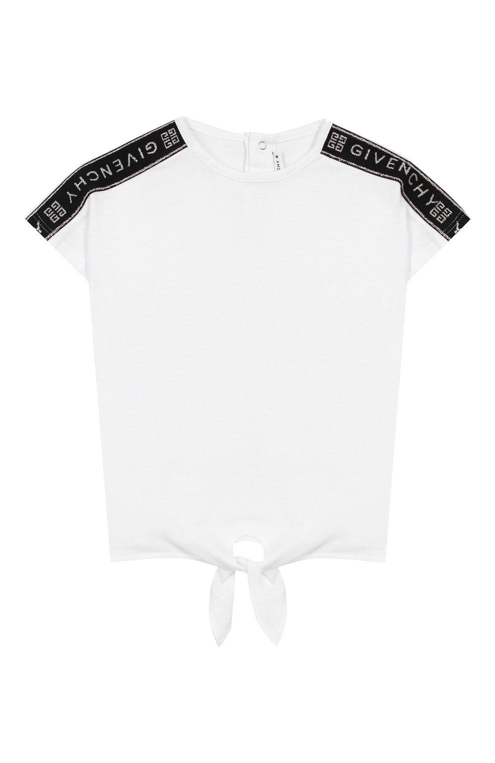 Детский хлопковая футболка GIVENCHY белого цвета, арт. H05123 | Фото 1