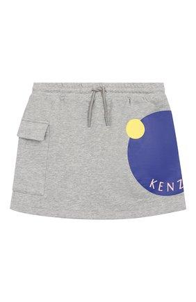 Детская хлопковая юбка KENZO серого цвета, арт. KQ27028 | Фото 1