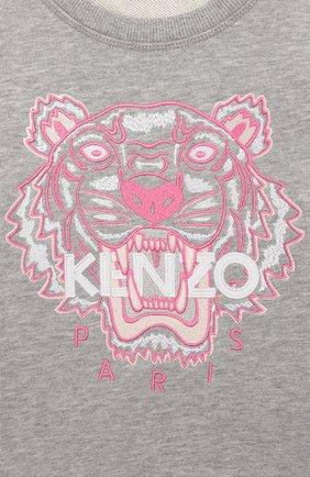 Детский хлопковый свитшот KENZO серого цвета, арт. KQ15178 | Фото 3