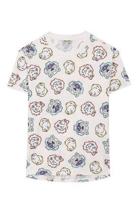 Детская хлопковая футболка KENZO разноцветного цвета, арт. KQ10698 | Фото 1