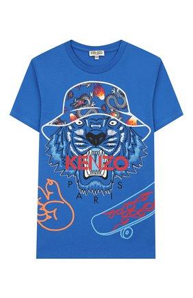 Детская хлопковая футболка KENZO синего цвета, арт. KQ10668 | Фото 1