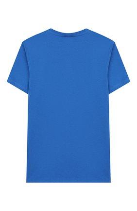 Детская хлопковая футболка KENZO синего цвета, арт. KQ10668 | Фото 2