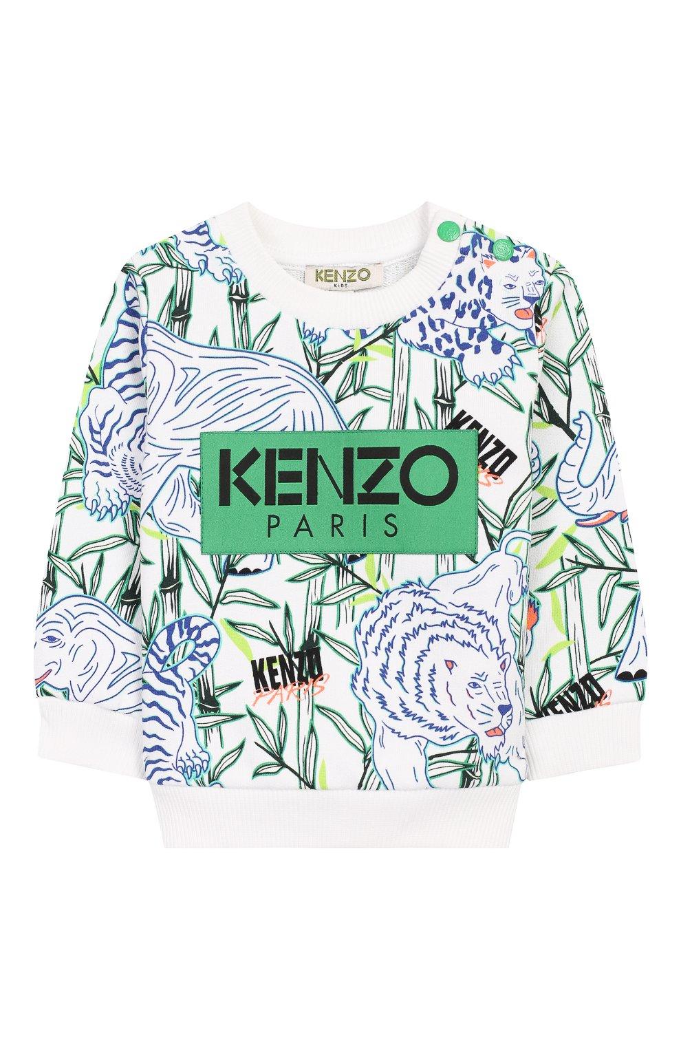 Детский хлопковый свитшот KENZO белого цвета, арт. KQ15598-BB | Фото 1