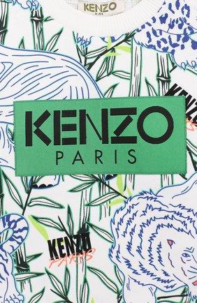Детский хлопковый свитшот KENZO белого цвета, арт. KQ15598-BB | Фото 3
