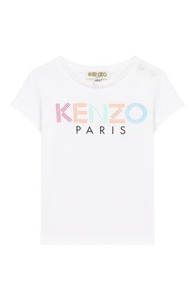Детский хлопковая футболка KENZO белого цвета, арт. KQ10087 | Фото 1