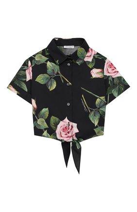 Детское хлопковая блузка DOLCE & GABBANA черного цвета, арт. L54S05/HS5GG/2-6 | Фото 1